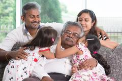 Multi generations Indian family - stock photo