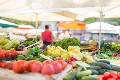 Farmers' food market stall with variety of organic vegetable. Stock Photos