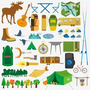 Stock Illustration of Set camping icon, hiking, outdoors