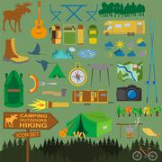 Set camping icon, hiking, outdoors - stock illustration