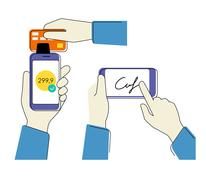 Mobile acquiring with signature - stock illustration