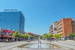 New fountain Scanderbeg Square Pristina - stock photo