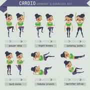 Cardio workout and exercise set - stock illustration
