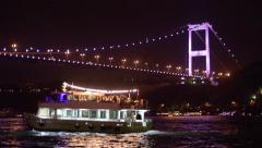 Bosphorus Strait night view fast forward Stock Footage