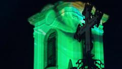 Light painting church and a cross Stock Footage