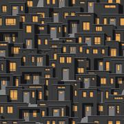 Continuous background of modern houses at night Stock Illustration