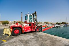 Forklift for yachts Stock Photos
