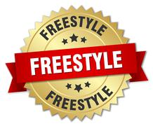freestyle 3d gold badge with red ribbon - stock illustration