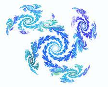 Abstract fractal design. Blue frost on white. - stock illustration