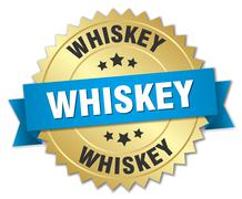 whiskey 3d gold badge with blue ribbon - stock illustration