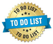 to do list 3d gold badge with blue ribbon - stock illustration