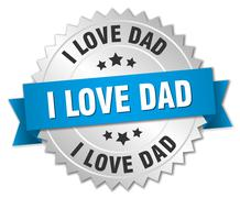 i love dad 3d silver badge with blue ribbon - stock illustration
