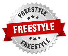 freestyle 3d silver badge with red ribbon - stock illustration