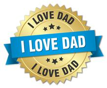 i love dad 3d gold badge with blue ribbon - stock illustration