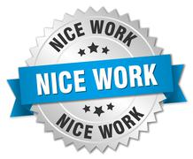 Stock Illustration of nice work 3d silver badge with blue ribbon
