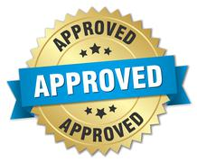 approved 3d gold badge with blue ribbon - stock illustration