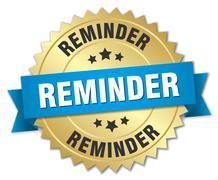 reminder 3d gold badge with blue ribbon - stock illustration