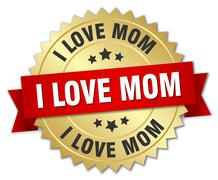 i love mom 3d gold badge with red ribbon - stock illustration