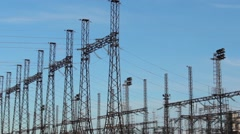 Electrification  Electric power, power, wire, current spark technology Stock Footage