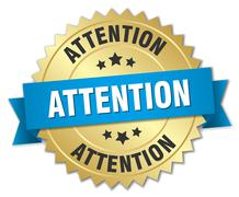 attention 3d gold badge with blue ribbon - stock illustration