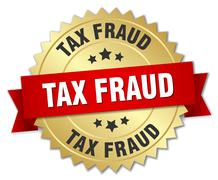 Tax fraud 3d gold badge with red ribbon Stock Illustration