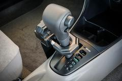 Iron lock on automatic gear shift - stock photo