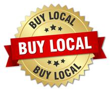 buy local 3d gold badge with red ribbon - stock illustration