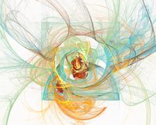 Abstract fractal design. Loops on white. - stock illustration