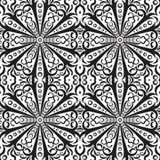 Rich decorated monochrome seamless pattern. Vector ornate floral design. Piirros