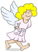 cartoon angel is walking satisfied - stock illustration