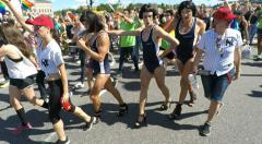 Trans people in swimsuits at Gay pride parade in Stockholm Stock Footage