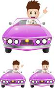 Young excecutive ride a sport car Stock Illustration