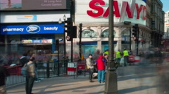 Panning time-lapse of Piccadilly Circus during daytime Stock Footage