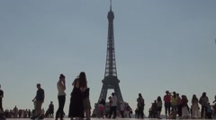 Tourists with Eiffel Tower Trocadéro View - 1080p Stock Footage