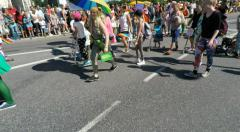 Woman posing for camera at Gay pride parade in Stockholm Stock Footage