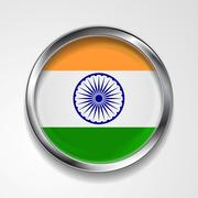 Stock Illustration of Republic of India metal button flag