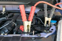 car battery charging - stock photo