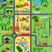 Travel background. Vacations. Beach resort, camping, excursion and landmarks  Stock Illustration