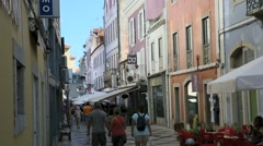 Typical shopping street of Cascais, Portugal Stock Footage