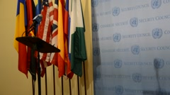 Security Council chamber United Nations Headquarters, press statement position - stock footage