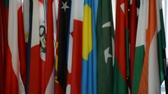 Security Council chamber United Nations Headquarters, United Nations Flags Stock Footage
