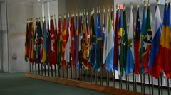 Security Council chamber United Nations Headquarters, United Nations Flags - stock footage
