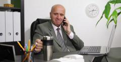 Office Success Manager Smiling Cellphone Talking Drink Tea Working Time Program Stock Footage