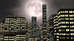 Full moon and city by night with green screen Stock Footage
