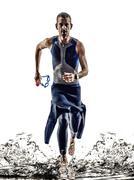Man triathlon ironman athlete swimmers running Kuvituskuvat