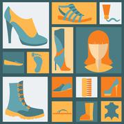 Footwear elements icons set. Easily edited Stock Illustration