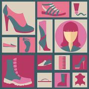Footwear elements icons set. Easily edited - stock illustration