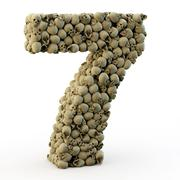 3D number seven made from skulls - stock photo