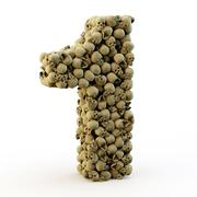 3d number one made from skulls - stock photo