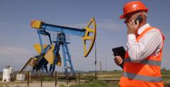 Technical Person Oil Pump Engineer Specialist Cell Phone Reporting Problem Found Stock Footage